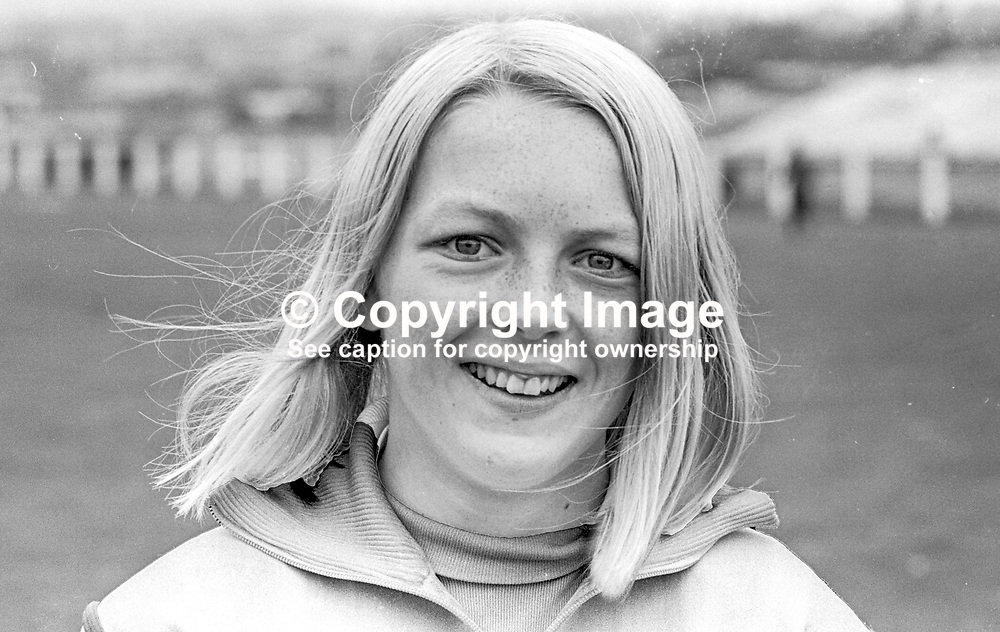 Shauna Kyle, Ballymena, N Ireland, athlete, 200m, 400m, daughter of Maeve Kyle, herself an athlete and currently a sports administrator. August 1969. 196908000212b<br /> <br /> Copyright Image from Victor Patterson, Belfast, UK<br /> <br /> t: +44 28 9066 1296 (from Rep of Ireland 048 9066 1296)<br /> m: +44 7802 353836<br /> e: victorpattersonbelfast@gmail.com<br /> <br /> www.images4media.com<br /> <br /> Please see my full Terms and Conditions of Use at https://www.images4media.com/p/terms-conditions - it is IMPORTANT that you familiarise yourself with them.<br /> <br /> Images used online incur an additional cost. This cost should be agreed in writing in advance. Online images must be visibly watermarked i.e. © Victor Patterson or that of the named photographer within the body of the image. The original metadata must not be deleted from images used online.<br /> <br /> This image is only available for the use of the download recipient i.e. television station, newspaper, magazine, book publisher, etc, and must not be passed on to a third party. It is also downloaded on condition that each and every usage is notified within 7 days to victorpattersonbelfast@gmail.com.<br /> <br /> The right of Victor Patterson (or the named photographer) to be identified as the author is asserted in accordance with The Copyright Designs And Patents Act (1988). All moral rights are asserted.