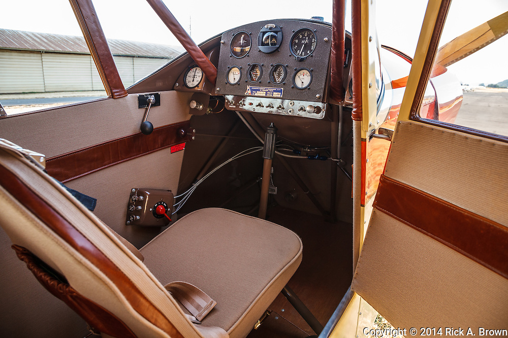 Cabin interior of Mathew Northway's Interstate Cadet, NC37369, at Creswell Airport.