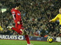 Photo: Aidan Ellis.<br /> Liverpool v Arsenal. The Barclays Premiership. 14/02/2006.<br /> Liverpool's Luis Garcia scores the only goal