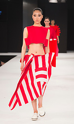 """© Licensed to London News Pictures. 02/06/2015. London, UK. Collection by Victoria Miller, University of Norwich. Runway show """"Best of Graduate Fashion Week 2015"""". Graduate Fashion Week takes place from 30 May to 2 June 2015 at the Old Truman Brewery, Brick Lane. Photo credit : Bettina Strenske/LNP"""