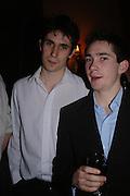 William McEwan and Greg MCewan. Book party for Saturday by Ian McEwan, Polish Club, South Kensington.  4 February 2005. ONE TIME USE ONLY - DO NOT ARCHIVE  © Copyright Photograph by Dafydd Jones 66 Stockwell Park Rd. London SW9 0DA Tel 020 7733 0108 www.dafjones.com