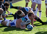 Rugby Union - 2020 / 2021 Gallagher Premiership - Round 13 - Newcastle Falcons vs Bath - Kingston Park<br /> <br /> Sam Underhill of Bath scores the games opening try to make it 5-0<br /> <br /> Credit : COLORSPORT/BRUCE WHITE