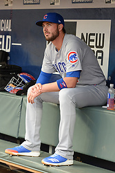 May 15, 2018 - Atlanta, GA, U.S. - ATLANTA, GA Ð MAY 15:  Cubs third baseman Kris Bryant (17) watches from the dugout during the game between Atlanta and Chicago on May 15th, 2018 at SunTrust Park in Atlanta, GA. The Chicago Cubs beat the Atlanta Braves by a score of 3 Ð 2.  (Photo by Rich von Biberstein/Icon Sportswire) (Credit Image: © Rich Von Biberstein/Icon SMI via ZUMA Press)