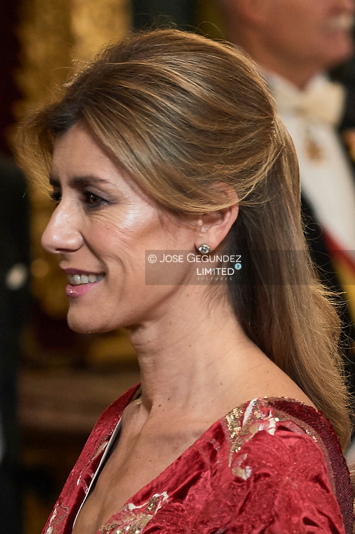 Pedro Sanchez, Begona Gomez attends a gala Dinner honouring Chinese President at the Royal Palaceon November 28, 2018 in Madrid, Spain