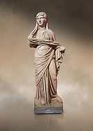 Roman statue of women. Perge. 2nd century AD. inv 3270 . Antalya Archaeology Museum; Turkey. Against a warm art background. .<br /> <br /> If you prefer to buy from our ALAMY STOCK LIBRARY page at https://www.alamy.com/portfolio/paul-williams-funkystock/greco-roman-sculptures.html . Type -    Antalya     - into LOWER SEARCH WITHIN GALLERY box - Refine search by adding a subject, place, background colour, museum etc.<br /> <br /> Visit our ROMAN WORLD PHOTO COLLECTIONS for more photos to download or buy as wall art prints https://funkystock.photoshelter.com/gallery-collection/The-Romans-Art-Artefacts-Antiquities-Historic-Sites-Pictures-Images/C0000r2uLJJo9_s0