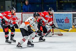 25.01.2019, Ice Rink, Znojmo, CZE, EBEL, HC Orli Znojmo vs Moser Medical Graz 99ers, 41. Runde, im Bild v.l. Allan McPherson (HC Orli Znojmo) Colton Jaret Yellow Horn (Moser Medical Graz99ers) Jan Lattner (HC Orli Znojmo) // during the Erste Bank Eishockey League 41th round match between HC Orli Znojmo and Moser Medical Graz 99ers at the Ice Rink in Znojmo, Czechia on 2019/01/25. EXPA Pictures © 2019, PhotoCredit: EXPA/ Rostislav Pfeffer