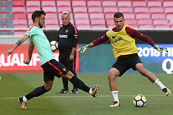 October 8, 2017 - Lisbon, Lisbon, Portugal - Portugals goalkeeper Anthony Lopes (R) and Portugals midfielder Bruno Fernandes (L) in action during National Team Training session before the match between Portugal and Switzerland at Luz Stadium in Lisbon on October 8, 2017. (Credit Image: © Dpi/NurPhoto via ZUMA Press)