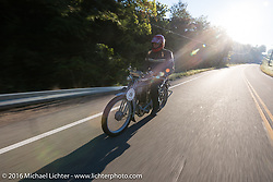 73 year-old artist, sculptor, photographer, and motorcycle-maniac Michael Gontesky of Virginia riding his 1911 Harley-Davidson 8A on the Motorcycle Cannonball Race of the Century. Stage-4 from Chillicothe, OH to Bloomington, IN. USA. Tuesday September 13, 2016. Photography ©2016 Michael Lichter.