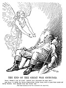 """The End of the Great War (Official). Peace. """"Here I am at last! Aren't you pleased to see me?"""" John Bull. """"I seem to have forgotten your face, but I like the look of your wings. You might fan me with 'em."""" [The formal conclusion of the war is promised us for August 4th.]"""