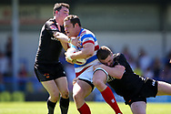 Bradford Bulls Edward Chamberlain (40) puts in a tackle  during the Kingstone Press Championship match between Rochdale Hornets and Bradford Bulls at Spotland, Rochdale, England on 18 June 2017. Photo by Simon Davies.