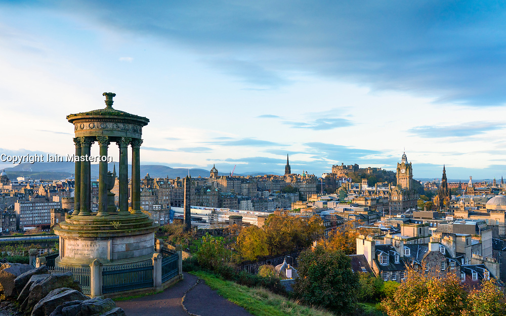 Early morning skyline view of Edinburgh from Calton Hill, Scotland, UK
