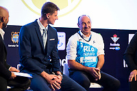 Rio Natura Monbus Obradoiro player Artem Pustovyi and actor Manuel Manquiña during the presentation of the new season of La Liga Endesa 2016-2017 in Madrid. September 20, 2016. (ALTERPHOTOS/Borja B.Hojas)