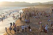 A typical holiday scene at a Southern California beach.