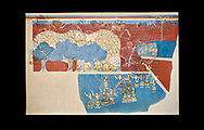 Minoan 'Sacred Grove and Dance Freco', wall art from Knossos Palace, 1600-1450 BC. Heraklion Archaeological Museum.  Black Background. <br /> <br /> This Neopalatial period Minoan fredco comes from thecauseway of the west facade of the palace complex. .<br /> <br /> If you prefer to buy from our ALAMY PHOTO LIBRARY  Collection visit : https://www.alamy.com/portfolio/paul-williams-funkystock/minoan-art-artefacts.html . Type -   Heraklion   - into the LOWER SEARCH WITHIN GALLERY box. Refine search by adding background colour, place, museum etc<br /> <br /> Visit our MINOAN ART PHOTO COLLECTIONS for more photos to download  as wall art prints https://funkystock.photoshelter.com/gallery-collection/Ancient-Minoans-Art-Artefacts-Antiquities-Historic-Places-Pictures-Images-of/C0000ricT2SU_M9w