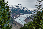 Salmon Glacier, British Columbia, Canada. Salmon Glacier is the world's largest glacier accessible via road and the fifth largest in Canada. Salmon Glacier is a 37km (23 mile) drive from Stewart, past Hyder and beyond the Bear viewing platform, along Salmon Glacier Road, built to connect Stewart to mining interests.