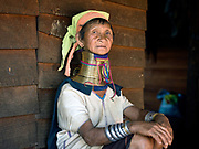 Portrait of a Kayan Padaung ethnic minority woman on 17 January 2016 in Kayah State, Myanmar. Myanmar is one of the most ethnically diverse countries in Southeast Asia with 135 different indigenous ethnic groups. There are over a dozen ethnic Karenni subgroups in the region including the Kayan who are perhaps the best known due to the traditional practice of the Kayan women extending their necks with brass rings