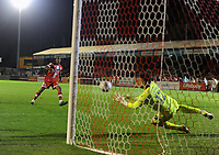 Football - 2021 / 2022 EFL Carabao Cup - Round One - Crawley Town vs Gillingham - The People's Pension Stadium - Tuesday, 10th August 2021<br /> <br /> Ludwig Francillette of Crawley sees his penalty kick saved in the penalty shoot out by goalkeeper, Aaron Chapman<br /> <br /> Credit : COLORSPORT/Andrew Cowie