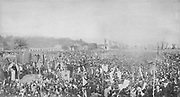Brazil: Open mass in commemoration of slavery abolishment on 17 May 1888. Isabel and her husband can be seen under a canopy to the left. The monarchy was never so popular, but at the same time never so frail