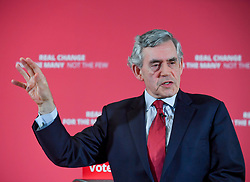 Pictured: Gordon Brown at the rally.<br /> <br /> Former Prime Minister Gordon Brown joined Scottish Labour leader Richard Leonard and candidates at a campaign rally in Glasgow.<br /> <br /> © Dave Johnston / EEm