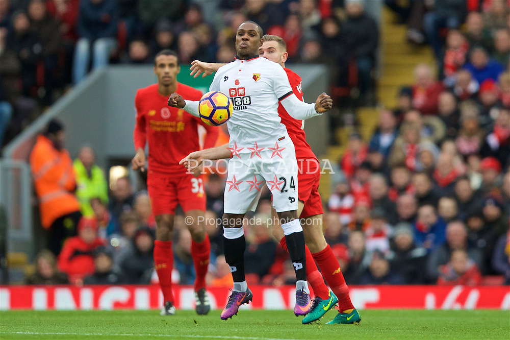 LIVERPOOL, ENGLAND - Sunday, November 6, 2016: Watford's Odion Ighalo in action against Liverpool during the FA Premier League match at Anfield. (Pic by David Rawcliffe/Propaganda)