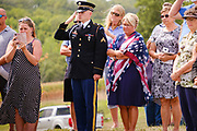 29 AUGUST 2020 - RUNNELLS, IOWA: People at the funeral for Pvt. Roy Brown Jr. in Runnells, IA. Pvt. Brown was a US Army soldier in World War II. He was an infantryman in the 126th Infantry Regiment, 32nd Infantry Division, serving in the Australian Territory of Papua (now Papua New Guinea). He went missing in action on Dec. 2, 1942. Unidentified remains were recovered on Feb. 2, 1943 and were eventually interred in the Manila American Cemetery. On May 14, 2019, Defense POW/MIA Accounting Agency using dental records, circumstantial evidence and DNA identified the remains as Pvt. Brown's. He was reinterred in the Lowman Cemetery in Runnells Saturday.      PHOTO BY JACK KURTZ