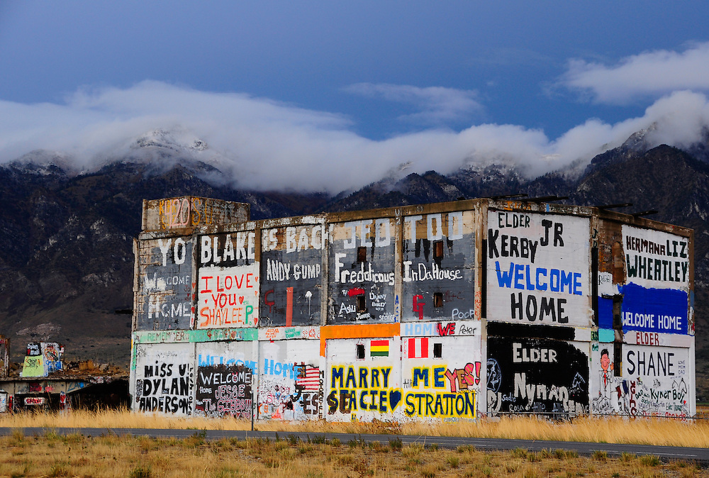 Graffiti on abandoned building along Interstate 15 in Northern Utah.