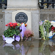 Some flower laid at tghe memories of Keith Palmer, Parliament, London, UK. 2 October 2021.