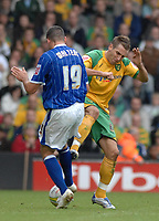 Photo: Ashley Pickering/Sportsbeat Images.<br /> Norwich City v Ipswich Town. Coca Cola Championship. 04/11/2007.<br /> Darren Huckbery of Norwich (R) is sent off late in the game for this challenge on Jonathan Walters of Ipswich