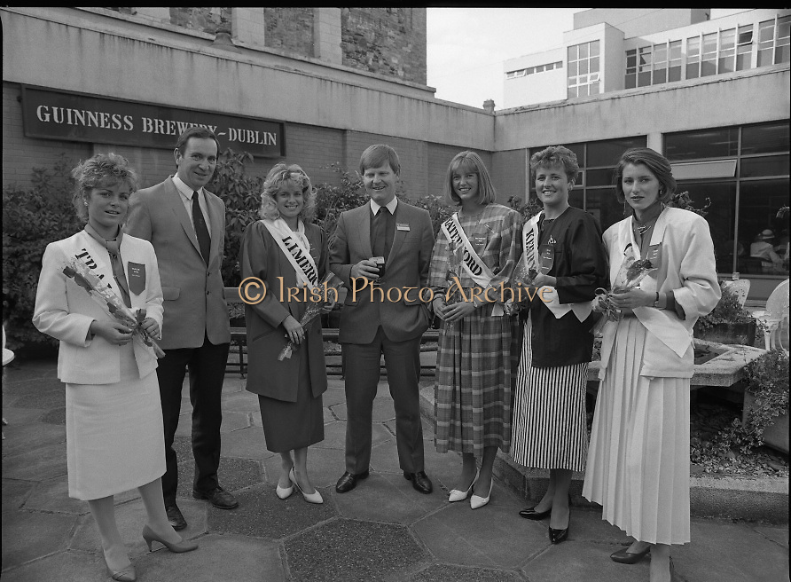 Roses of Tralee at Guinness Brewery..1986.20.08.1986..08.20.1986..20th August 1986..As part of the 50th running of the Rose Of Tralee Festival the thirty Rose contestants were invited to The Guinness Brewery,St James's Gate,Dublin. At the reception in their honour, Mr Pat Healy,Sales Director,Guinness Group Sales,welcomed the roses at the Guinness Reception Centre..Extra: Ms Noreen Cassidy,representing Leeds,went on to win the title of 'Rose Of Tralee'...Picture shows Mr Pat Barry,(centre),Corporate Affairs Manager,Guinness with roses,Liz Keane,Tralee Elaine Murphy,Limerick,Louise Wittel,Waterford,Clare Thompson,Kerry and Liz Fenton Cork at the Guinness reception.
