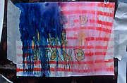 A week after the 9-11 terrorist attacks on the Twin Towers and the Pentagon, a rain-spattered poster sends a United We Stand message to American patriots, on 19th September 2001, New York, USA.