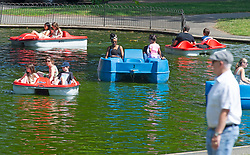 ©Licensed to London News Pictures 22/07/2020     <br /> Greenwich, UK. Greenwich Park boating lake. Warm hot sunny weather in the UK today as people get out and about in Greenwich, London. Photo credit: Grant Falvey/LNP