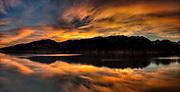 Sunset panorama,  high cloud over Lake Pukaki and Ben Ohau Range, near Mount Cook National Park, Mackenzie country, Canterbury