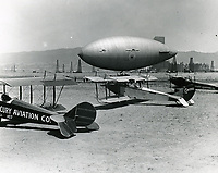 1921 Blimp & planes at DeMille Field #2 at Wilshire & Fairfax Blvds.