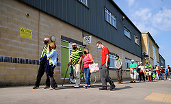 Forest Green Rovers fans queue to get in to the stadium prior to kick off- Mandatory by-line: Nizaam Jones/JMP - 19/09/2020 - FOOTBALL - New Lawn Stadium - Nailsworth, England - Forest Green Rovers v Bradford City - Sky Bet League Two