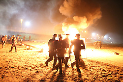 © Licensed to London News Pictures . 23/10/2016 . Calais , France . The Jungle migrant camp in Calais , Northern France , the night before a planned eviction and destruction of the camp . Photo credit: Joel Goodman/LNP