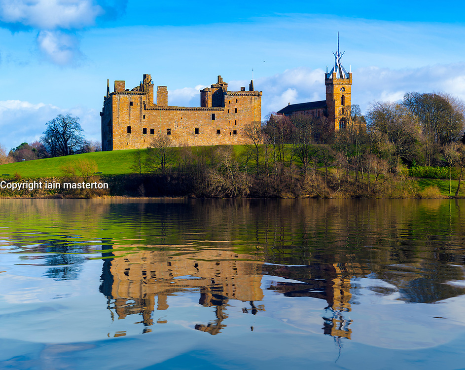Reflection of Linlithgow Palace in lake, Linlithgow, Scotland, UK