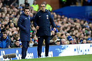 Everton Manager Marco Silva and Chelsea Manager Maurizio Sarri during the Premier League match between Everton and Chelsea at Goodison Park, Liverpool, England on 17 March 2019.