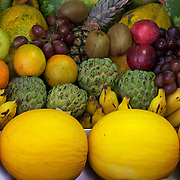 Stacks of fruit at a juice bar (Bibi Sucos), Rio de Janeiro,  Brazil. 1st September 2010. Photo Tim Clayton.