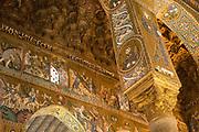 Cappella Palatina interior with gold mosaic religious art and column