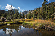 Reflections in a small lake in Rocky Mountain National Park