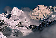 Cho Oyu (right) on Nepal-Tibet border from Mera peak, Khumbu Himal, Nepal