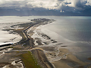 Aerial view of Homer Spit on an overcast morning; Homer, Alaska.