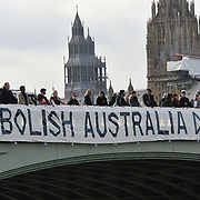 London: Abolish Australia day banner drop at Westminster bridge