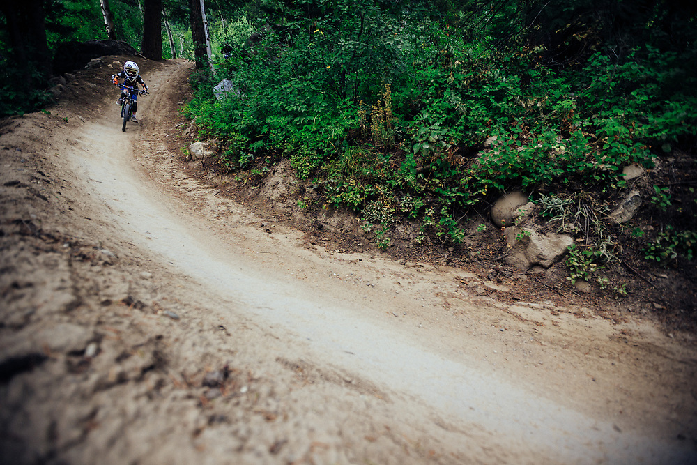 Micah Goodrich (Age 6) rides Singletrack and features on the Bandit trail at JHMR.