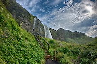 Starway to Seljalandsfoss, a Waterfall in Southern Iceland. HDR composite of 7 images taken with a Nikon D800 and 16 mm f/2.8 fisheye lens (ISO 100, 16 mm, f/16) using Google HDR Efex Pro 2. Nikonians Academy Photo Adventure