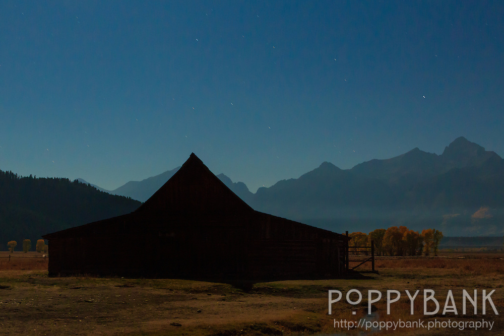 The challenge here was to get a photo of the iconic Moulton Barn that was different from the other shots we've seen.  This is a 30 second exposure lit from above my a full moon casting the front of the barn in full shadow, creating a stark geometric shape in the front with the Grand Teton mountains in the background.