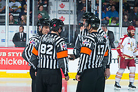 REGINA, SK - MAY 22: Ice officials at the Brandt Centre on May 22, 2018 in Regina, Canada. (Photo by Marissa Baecker/CHL Images)