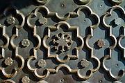 The Taj Mahal mausoleum geometric pattern detail of repousse on heavy bronze door, Uttar Pradesh, India
