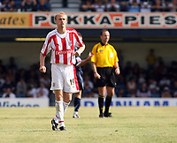 Photo: Chris Ratcliffe.<br />Southend United v Stoke City. Coca Cola Championship.<br />05/08/2006.<br />Luke Chadwick of Stoke before being stretchered off.