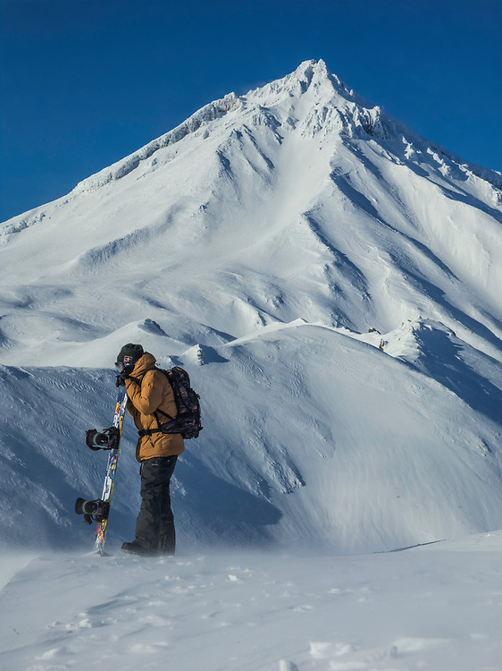 Volcanos in every direction, rock hard snow and 60mph winds. Travis Rice soaks it all up.